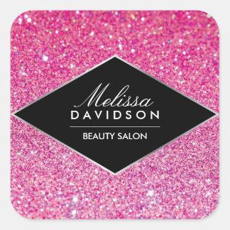 Beauté rose de scintillement et de charme sticker carré