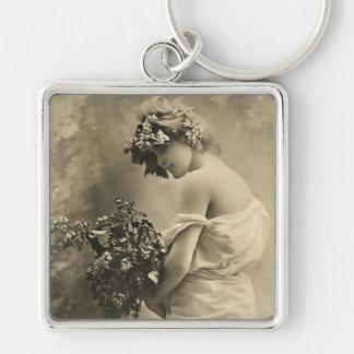 beauté vintage avec des fleurs coupées porte-clés