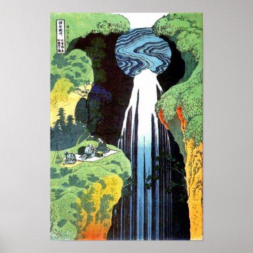 Beaux-arts de cascade de Hokusai Amida Posters