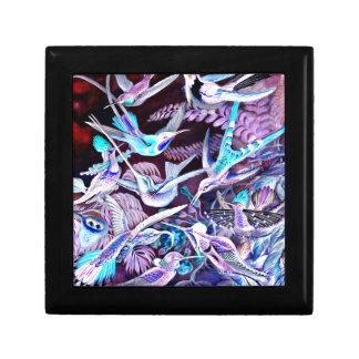 Beaux-arts de colibri petite boîte à bijoux carrée