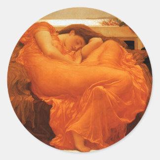 Beaux-arts de flamber juin Frederic Leighton Sticker Rond