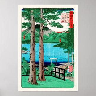 Beaux-arts de Japonais de Hiroshige de lac Poster