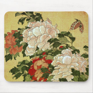 Beaux-arts de Japonais de Hokusai de pivoines et Tapis De Souris
