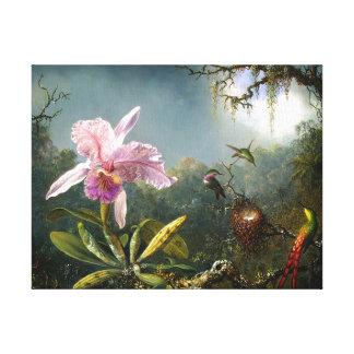 Beaux-arts d'orchidée et de trois colibris toiles