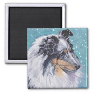 Beaux beaux-arts de chien de berger de Sheltie Magnet Carré