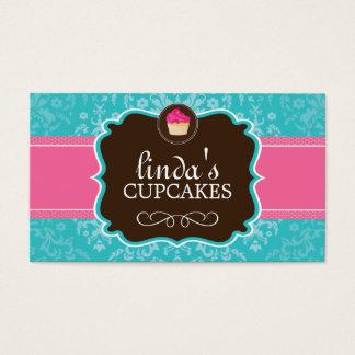 Beaux cartes de visite de petit gâteau de damassé