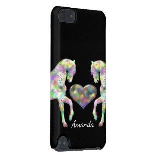 Beaux chevaux et coeur d'arc-en-ciel coque iPod touch 5G