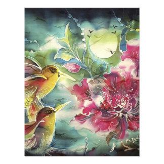Beaux colibris à l'art de soie de nuit prospectus en couleur