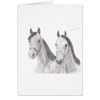 Beaux dessins de cheval de juments carte de vœux