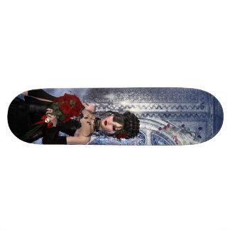 Beaux fille, roses et bougies gothiques plateaux de skate