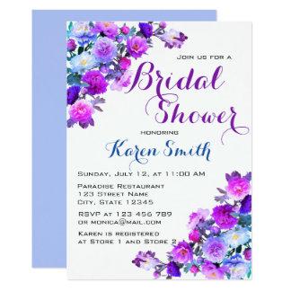 Beaux invitations nuptiales fleuris de douche