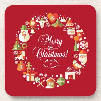 Beaux joyeux petits dessous de verre de Noël  