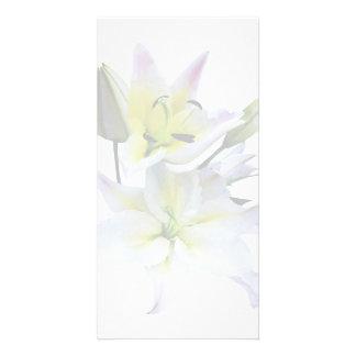 Beaux lis blancs cartes de vœux avec photo