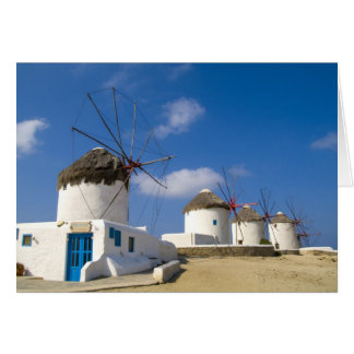 Beaux moulins à vent sur l'île de Mykonos, Carte De Vœux