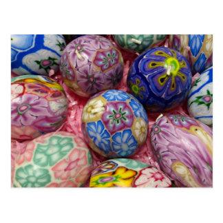 Beaux oeufs multicolores d'Ukrainien de cire Carte Postale