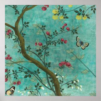 Beaux papillons antiques vintages d'arbre de fleur posters