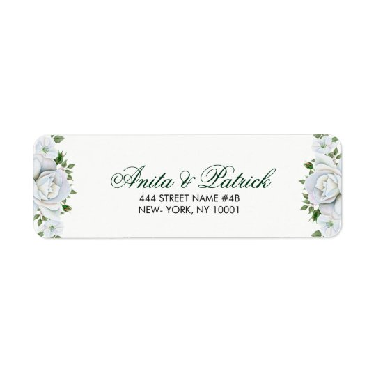 Beaux roses blancs étiquette d'adresse retour