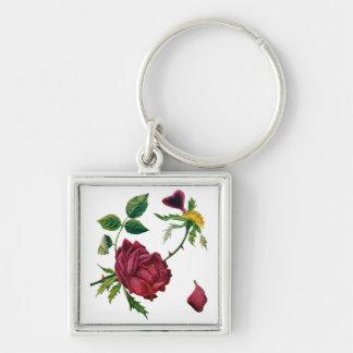 Beaux roses rouges faits en broderie de laine à ta porte-clé carré argenté