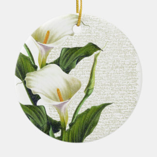 Beaux zantedeschias ornement rond en céramique