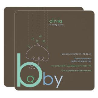 """Bébé """"a"""" dans l'invitation mignonne bleue de baby carton d'invitation  13,33 cm"""