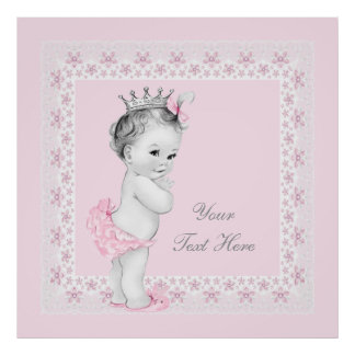 Bébé adorable de princesse Pink Affiche