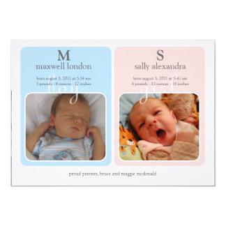 Bébé Announcment - monogramme de jumeaux Carton D'invitation 12,7 Cm X 17,78 Cm
