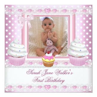 Bébé blanc de tache de premiers d'anniversaire de carton d'invitation  13,33 cm