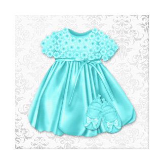Bébé bleu turquoise de robe de damassé argentée impression sur toile