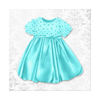 Bébé bleu turquoise de robe de damassé argentée toiles tendues