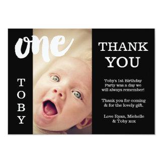 Bébé carte de remerciements ęr d'anniversaire noir carton d'invitation  11,43 cm x 15,87 cm
