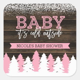 Bébé c'est baby shower extérieur froid de fille sticker carré