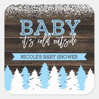 Bébé c'est baby shower extérieur froid de garçon sticker carré