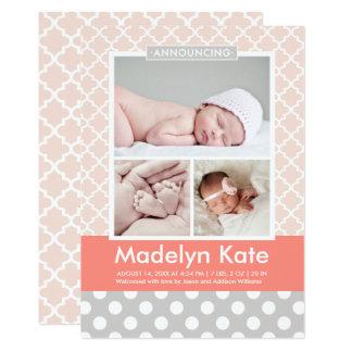 Bébé chic de motif des annonces | de naissance de carton d'invitation  12,7 cm x 17,78 cm