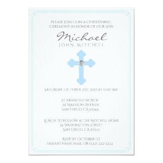 Bébé croisé bleu de cérémonie de baptême de carton d'invitation  12,7 cm x 17,78 cm