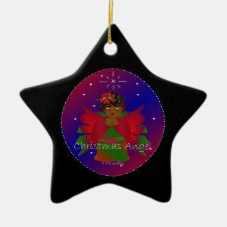 Bébé d'ange de Noël autour du monde dans le noir Ornement Étoile En Céramique