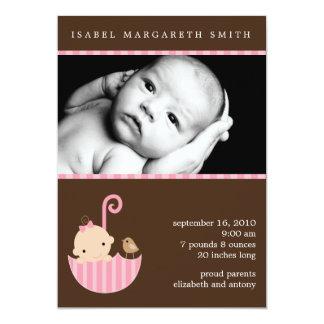 Bébé dans des annonces roses de photo de parapluie carton d'invitation  12,7 cm x 17,78 cm