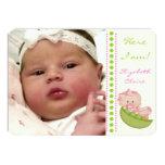Bébé dans une photo de naissance de vert de rose cartons d'invitation