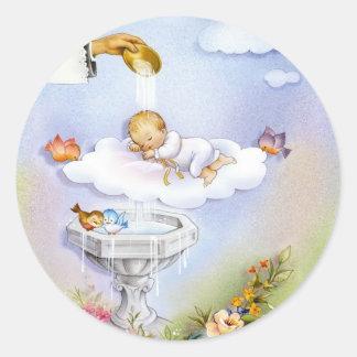 Bébé de baptême de baptême autocollant rond