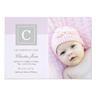 Bébé de bloc de lettre des annonces | de naissance carton d'invitation  12,7 cm x 17,78 cm