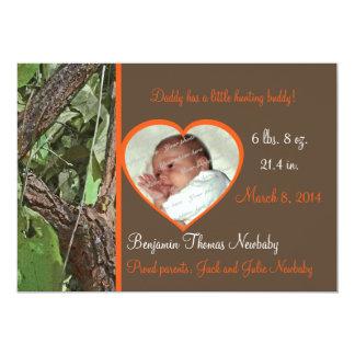 Bébé de Camo d'arbre de région boisée Carton D'invitation 12,7 Cm X 17,78 Cm
