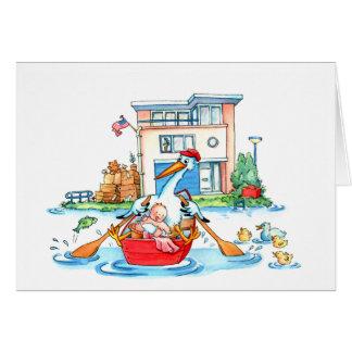 Bébé de cigogne de bateau d'aviron - faire-part de