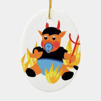bébé de diable ornement ovale en céramique