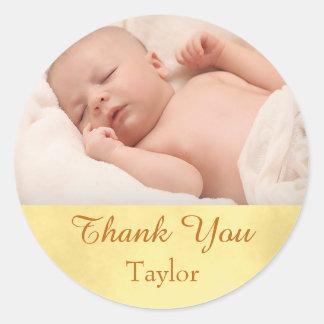 Bébé de photo de Merci Sticker Rond