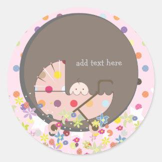 Bébé de PixDezines dans le landau Sticker Rond