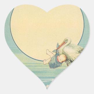 Bébé de transport de cigogne vintage dans la sticker cœur