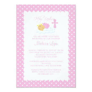 Bébé doux d'ange et baptême Inviation de croix Carton D'invitation 12,7 Cm X 17,78 Cm