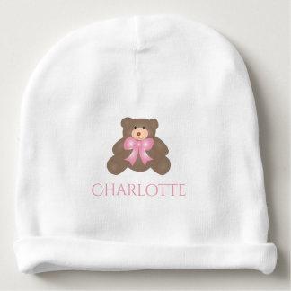 Bébé doux d'ours de nounours de ruban mignon de bonnet de bébé