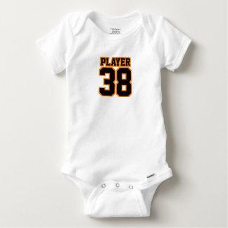 Bébé d'une seule pièce ORANGE NOIR BLANC latéral T-shirt