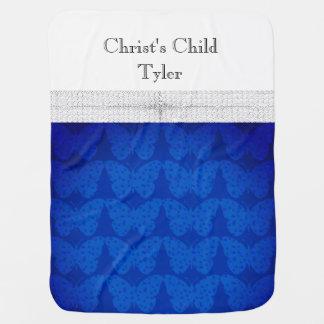 Bébé-Foi-Chrétien-Papillon-Bleu-Deux-Dégrossi Couvertures De Bébé