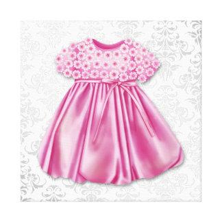 Bébé gris et rose de robe de rose de robe de damas impression sur toile